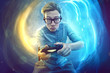 canvas print picture - Nerdy gamer with controller
