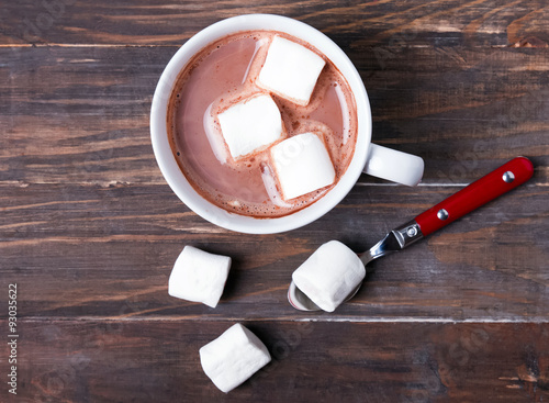 Foto op Canvas Chocolade Cup of hot cocoa with marshmallows