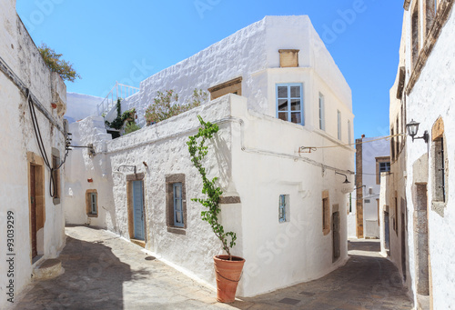 fototapeta na ścianę The small streets in the town of Chora on the Greek Holy Island of Patmos belongs to the Dodecanese in the Aegean Sea
