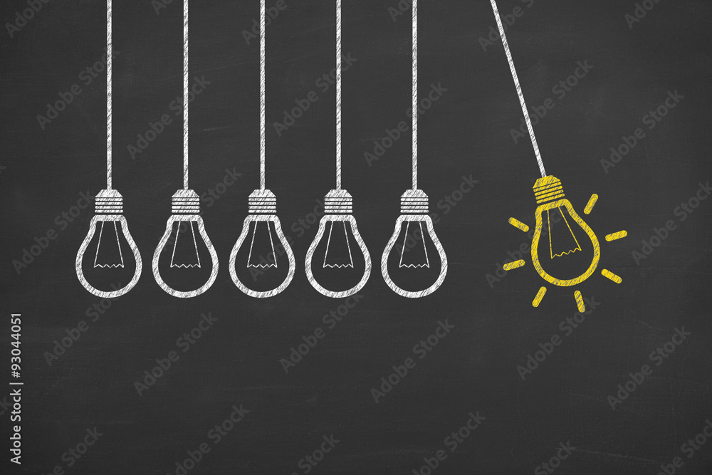 Fototapety, obrazy: Idea Light Bulb Conceptual Work on Blackboard