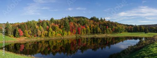 Aluminium Prints Autumn Reflections on pond fall foliage panorama