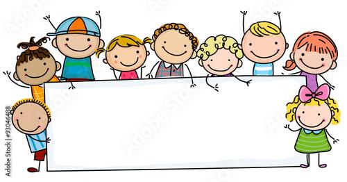 Sketch children and banner