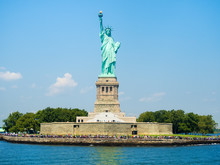 The Statue Of Liberty In New York On A Beautiful Day