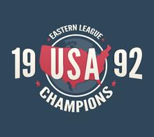 USA League Champions T-shirt Apparel Fashion Design. Vintage