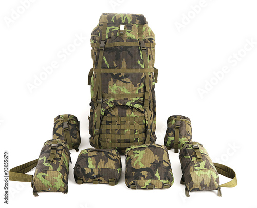 Photo  Military backpack isolated on white. Big.