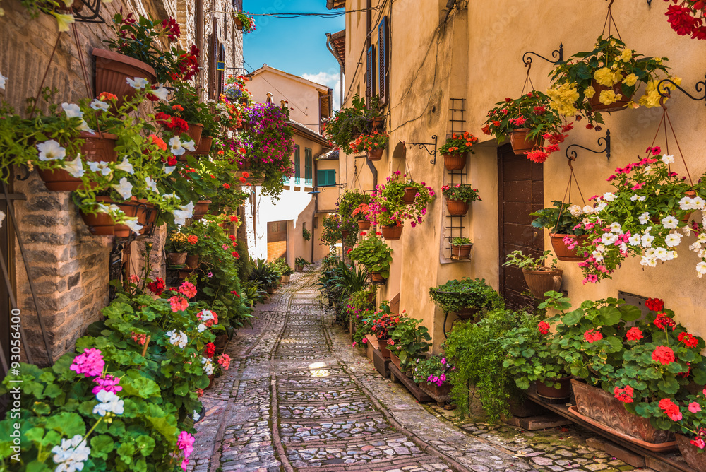 Fototapeta Floral street in central Italy, in the small Umbrian medieval to