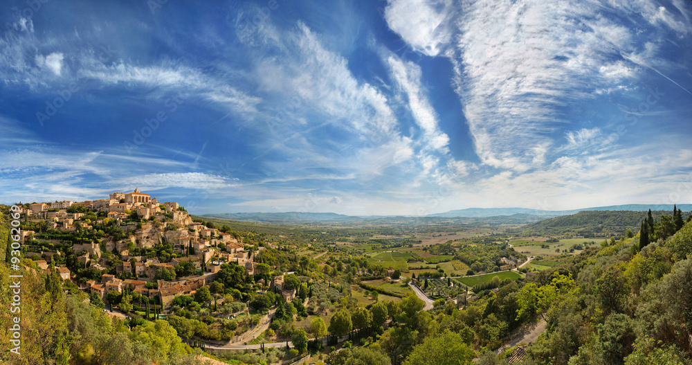 Fototapety, obrazy: Wide angle panoramic view of Gordes