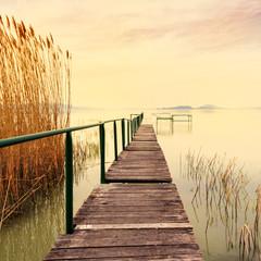 Fototapeta Optyczne powiększenie Wooden pier in tranquil lake Balaton