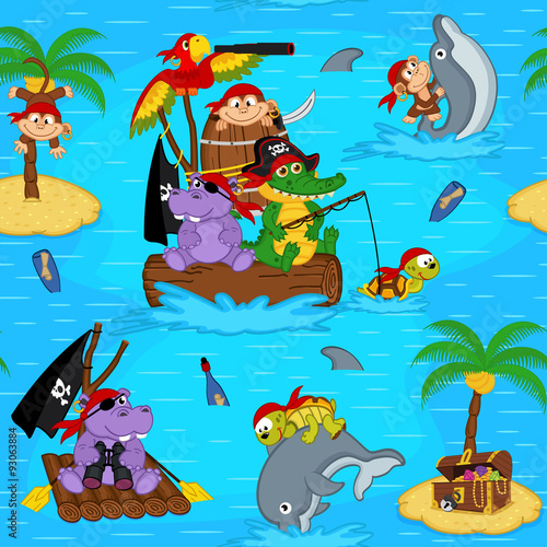 obraz PCV seamless pattern with animals pirates - vector illustration, eps