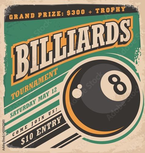 Fotografia, Obraz Retro poster design for billiards tournament