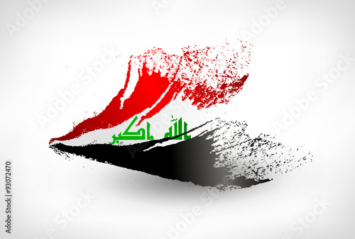 Fotografija  Brush painted flag of Iraq