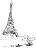 Fototapeta Fototapety z wieżą Eiffla - Eiffel tower, Paris, France. Vector illustration
