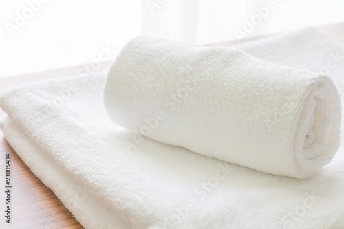 Fotografie, Obraz  Clean white towel fold in hotel room