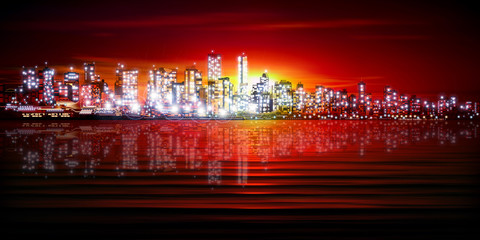 Naklejka abstract background with silhouette of city