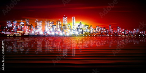 abstract background with silhouette of city - 93085897