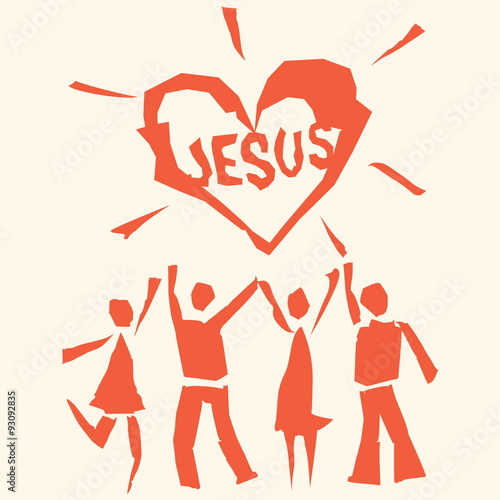 Church Logo Group Of People Heart Jesus Icon Vbs Church Group