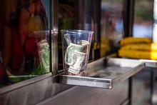 Tip Jar At Food Cart In New Yo...