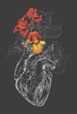 drawing Human heart with flowers - 93103431