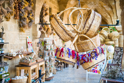 Foto op Aluminium Cyprus Straw basket souvenirs at Buyuk Han (The Great Inn).
