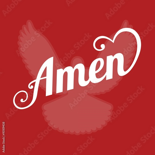 vector typography letter amen and pigeon sign of holy spirit ,flat design Canvas Print