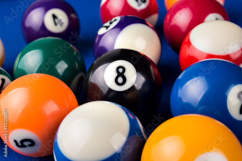 Fotografie, Obraz  Billiard balls in a blue pool table.