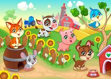 Cute Farm Animals In The Garden