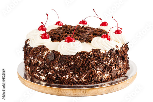 Fotografie, Obraz  Black forest cake decorated with whipped cream and cherries
