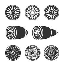Turbines Icons Set, Airplane Engine Silhouettes,  Technology