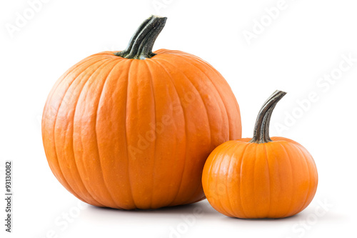 Two pumpkins isolated on white background Fototapete