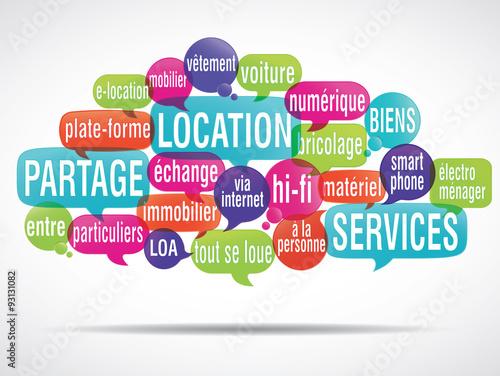 Fototapety, obrazy: nuage de mots : partage location