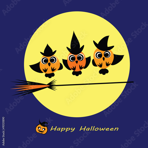Halloween Vector Illustration Owl Witches Flying On Broom Cute Owls Wearing Witch Hat Broom Stick Full Moon Flat Silhouettes Halloween Card Flyer Wallpaper Eps 10 Isolated On White Buy This