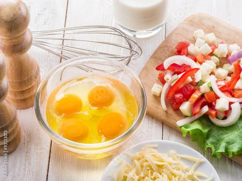 Deurstickers Gebakken Eieren Omelette ingredients.
