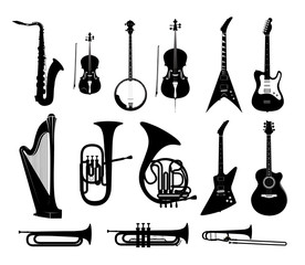 Fototapeta Silhouettes of Musical Instruments in black and white isolated, Vector Illustrations