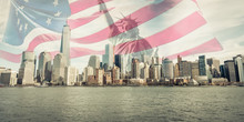 Triple Exposure Of New York City Skyline, Liberty Statue And American Flag
