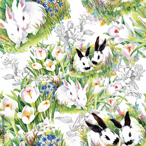 Cotton fabric Watercolor rabbits with flowers seamless pattern vector