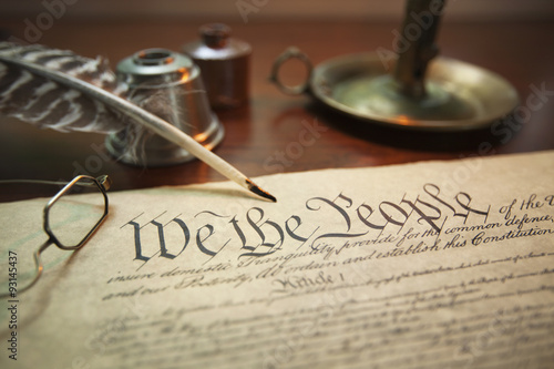 Stampa su Tela United States Constitution with quill, glasses and candle holder