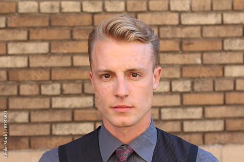 Fotografie, Obraz  Portrait of a Nordic young man outside
