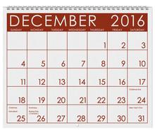 2016 Calendar: Month Of Decemb...