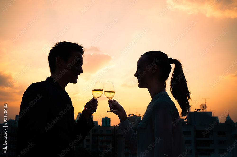 Fototapety, obrazy: Couple drinking wine. First date