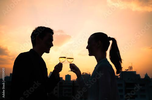 Fotografia, Obraz  Couple drinking wine. First date