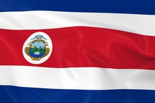 Waving Flag Of Costa Rica - 3D Render Of The Costa Rican Flag With Silky Texture