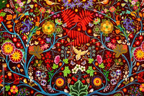 Colorful handmade traditional rug fabric abstract background Fototapeta