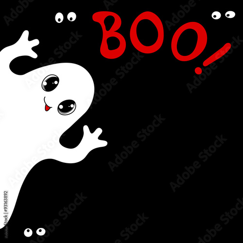 Fotografia, Obraz  Halloween card with cute ghost