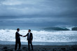 Businessmen Handshake Beach Partnership Agreement Concept