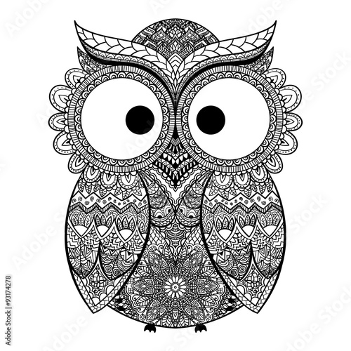 Canvas Prints Owls cartoon Vector illustration of ornamental owl.