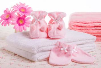 Obraz na płótnie Canvas 赤ちゃんの靴下と手袋