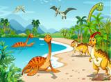 Fototapeta Dinusie - Dinosaurs living on the beach