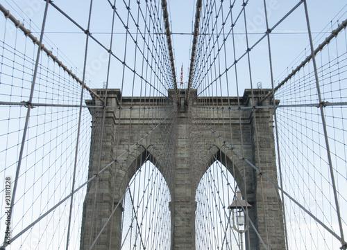 Montage in der Fensternische Brooklyn Bridge Brooklyn Bridge in New York City.