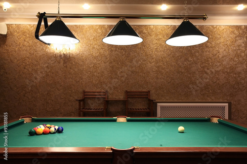 Foto billiards, billiard balls on the table