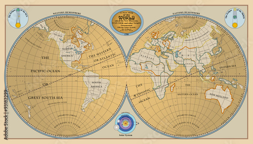 Foto op Aluminium Wereldkaart Vector of old globe, map of world with new discoveries of 1799